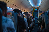 Airplane corridor and seats