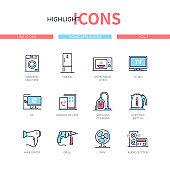 Home appliances - line design style icons set