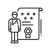 Doctor ratings - line design style single isolated icon