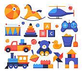 Toys - set of flat design style elements