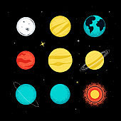 Solar system planets - colorful flat design style objects