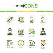 Pregnancy - modern line design style icons set