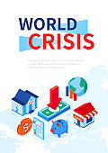 World crisis - modern colorful isometric web banner