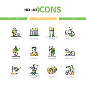 Ancient Rome - modern line design style icons set
