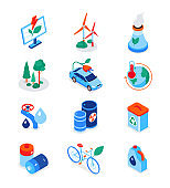 Eco lifestyle - modern colorful isometric icons set