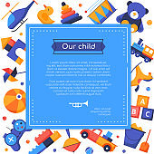 Our child - vector flat design style banner