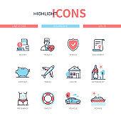 Insurance concept - line design style icons set