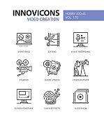 Video creation - line design style icons set