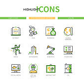 Contemporary history - modern line design style icons set