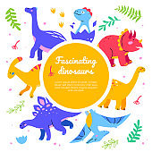 Fascinating dinosaurs - flat design style web banner