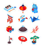 Amazing Japan - modern colorful isometric icons set