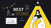 Rest at home - modern flat design style web banner