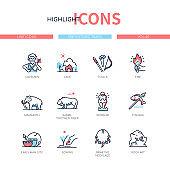 Prehistoric times - line design style icons set