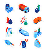 Oil industry - modern colorful isometric icons set
