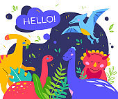 Cute dinosaurs - colorful flat design style poster