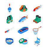Fishing equipment - modern colorful isometric icons set