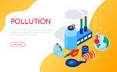 Pollution concept - modern colorful isometric web banner