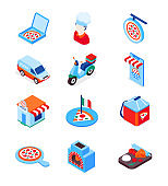 Pizza delivery - modern colorful isometric icons set