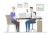 Senior man on the interview - flat design style illustration