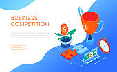 Business competition - modern colorful isometric web banner