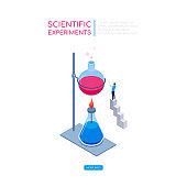 Scientific experiments - modern isometric vector web banner
