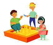 Children playing in the sandbox - colorful flat design style illustration