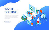 Waste sorting - modern colorful isometric web banner
