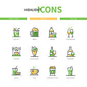 Drinks - modern line design style icons set