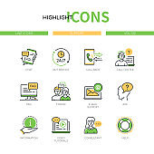 Support - modern line design style icons set