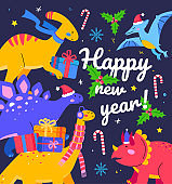 Happy New Year - flat design style illustration with characters