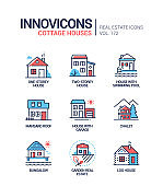 Cottage houses - modern line design style icons set