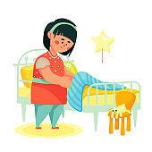 Girl making her bed - colorful flat design style illustration