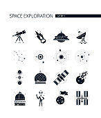Space exploration - modern vector set of black icons