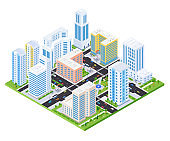 Housing complex - modern vector colorful isometric illustration