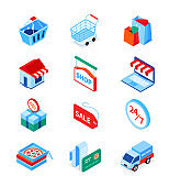 Online shopping and delivery - modern isometric icons set