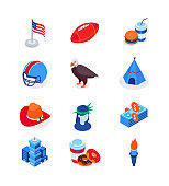 Visit the USA - modern colorful isometric icons set