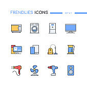 Household and office appliances computers - line design style icons set