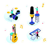 Music party - modern isometric scenes with characters