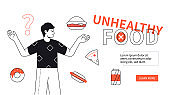 Unhealthy food - modern flat design style web banner
