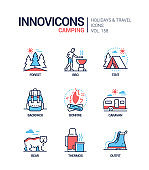 Camping - modern line design style icons set