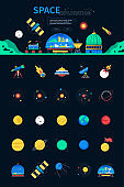 Space exploration - colorful flat design style web banner