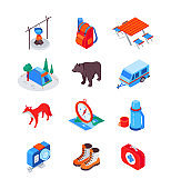 Camping and hiking equipment - modern isometric icons set