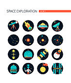 Space exploration - colorful flat design style icons
