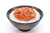 Korean white rice and kimchi on a bowl