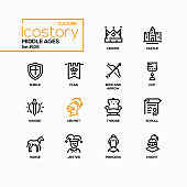 Middle ages - line design style icons set
