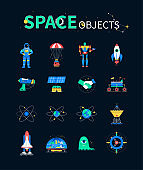 Space objects - colorful flat design style icons