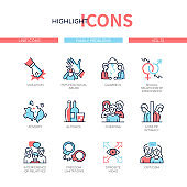 Family psychological problems - line design style icons set