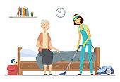 Cleaner helping senior woman - flat design style illustration