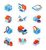 Transportation and logistics - modern isometric icons set