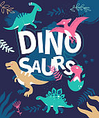 Dinosaurs - flat design style illustration with characters